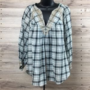 Rebecca Taylor plaid and lace long sleeve blouse